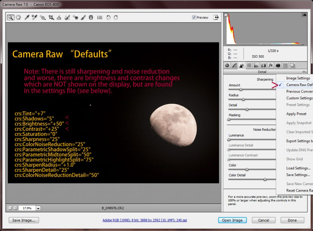 Camera RAW &quot;Defaults&quot;
